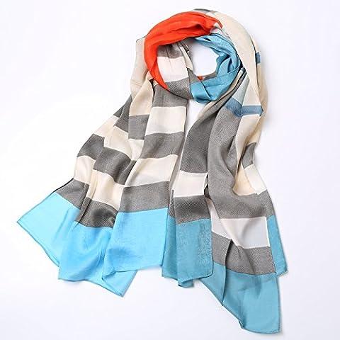 Upper-Die neuen Sommer lady Streifen buchstabiere Farbe Chiffon Seidenschal Schal, Blau Orange
