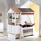 Möbel Komplettset Kinderzimmer Jugendzimmer Hausbett Kinderbett Treehouse Baumhütte Spielbett massiv, Komponenten:Mitwachsendes Kombi-Bett