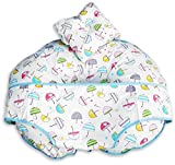 Made for Mums award winning Unique 4 in 1 Premium Cotton Nursing Pillow with FREE Mini Pillow and Baby Harness (UMBRELLA FABRIC)