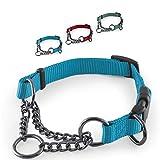 CarlCurt - Training Line: Retriever-Hundehalsband Aus Strapazierfähigem Nylon, Verstellbar, 35-45cm, Hellblau