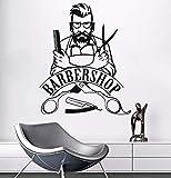 Fushoulu 57X70 Cm Pared Sticker Barber Shop Signo Etiqueta De La Pared Extraíble Hipster Pegatinas De Vinilo Salón De Belleza Etiqueta De La Ventana De La Peluquería Decoración