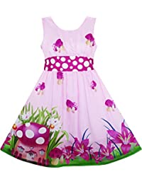 Sunny Fashion Girls Dress Rose Flower Print Butterfly Embroidery Green, Vestido para Niños
