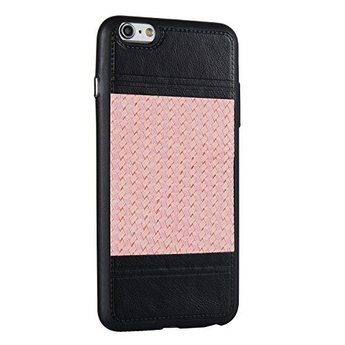 Mischfarben Weaving Pattern PU Leder Skin Cover Shell Soft TPU / Silikon Rückseiten Cover Case für iPhone 6 & 6s ( Color : J ) C