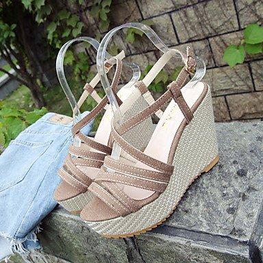 YFF Sandales femmes Confort d'été PU talon occasionnels Crochet et boucle,Dark Brown,US7.5 / EU38 / UK5.5 /