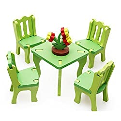 Joyeee® Wooden 3D Assembly Dollhouse Furniture Puzzle Set #3 - Dining Room - Toddler Building Construction Block Jigsaw Puzzle Toy - Perfect Christmas Gift Idea
