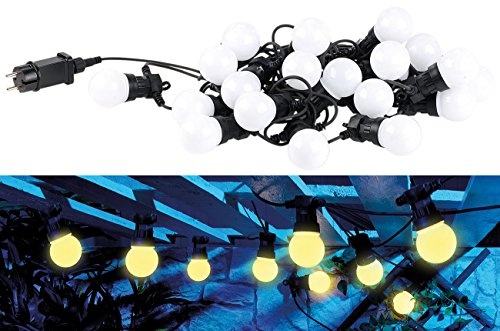 Lunartec Lichterketten Outdoor: Party-LED-Lichterkette m. 20 LED-Birnen, 6 Watt, IP44, warmweiß, 9,5 m (Lichterkette als Deko-Beleuchtung)