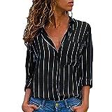 VJGOAL Damen Bluse, Damen Mode lässig Passenden Farbe herbstlichen Langarm-Taste lose Kariertes Hemd Bluse Top T-Shirt (S-Tasche-schwarz, 44)