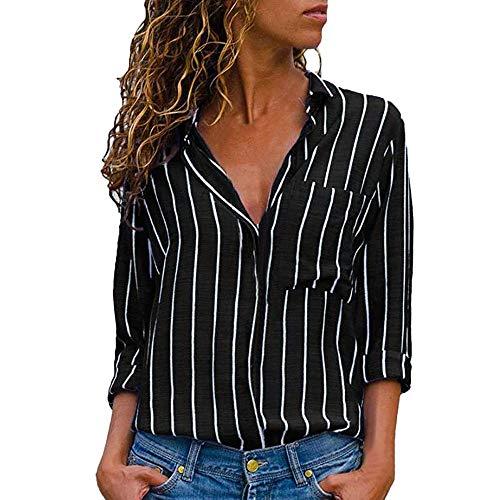 VJGOAL Damen Bluse, Damen Mode lässig passenden Farbe herbstlichen Langarm-Taste lose Kariertes Hemd Bluse Top T-Shirt (S-Tasche-schwarz, ()