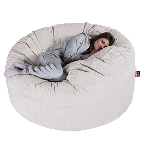 Lounge Pug® - Pinstripe Cord - CLOUDSAC - Huge Memory Foam GIANT Bean Bag SOFA - 1000 Litre - Beanbag UK - STONE