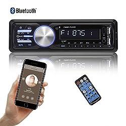 bedee Autoradio KFZ Bluetooth Audio Empfänger MP3 Player mit Freisprecheinrichtung für iPhone/iPad/iPod/Smartphone, Unterstützung USB/AUX Anschluss SD Karten ISO Anschlußkabel 1 DIN schwarz