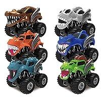 JOYIN 6 Pack Monster Friction Powered Truck Vehicles Big Tire Wheel Car Playset