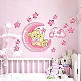 wall art R00317 da Parete per Bambini, Piccolo Orso buona-Notte-Luna, 60 x 40 x 0,1 cm, Rosa