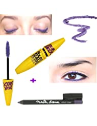 KIT Mascara GEMEY MAYBELLINE Volum Express Colossal Colorshock Violet Electric - T 090 + Crayon Waterproof Master...