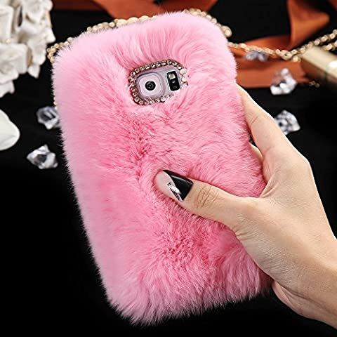 Samsung Galaxy S6 Edge Case, FLOVEME [Imitation Rabbit Hair ] [Washable] [Adorable Case] [Ultra Soft ] Fluffy Villi Faux Fur Plush Protective Phone Cover,Cute Case for Samsung Galaxy S6 Edge,5.1inch - pink