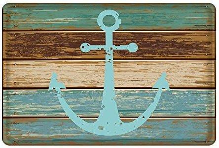 Ormis Vintage Retro Nautical Anchor de franela y microfibra baño alfombra - turquesa y marrón antideslizante suelo de cocina suave absorbente alfombra de baño alfombra (40cm x 60cm)
