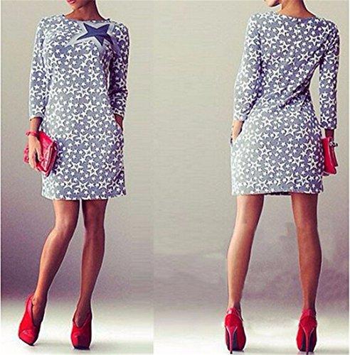 QIYUN.Z Galaxie Sterne Gedruckten Frauen Dünnes Kleid Langarm Minipakethüfte Kurze Kleider Fotofarbe