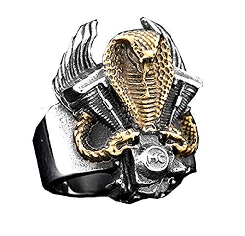 d1a38fbf4d34 HIJONES Gótico Rey Serpiente Cobra Anillo Biker Guerrero para Hombre Acero  Inoxidable Estilo Punk Oro Tamaño