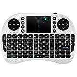 Rii Mini i8 Wireless (layout Español) - Mini teclado ergonómico con ratón touchpad para Smart TV, Mini PC Android, PlayStation, Xbox, HTPC, PC, Raspberry Pi (Rii Mini i8 Blanco)