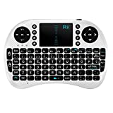 Rii Mini i8 Wireless (layout Español) - Mini teclado ergonómico con ratón touchpad para Smart TV, Mini PC Android, PlayStation, Xbox, HTPC, PC, Raspberry Pi (Rii Mini i8 Blanco)