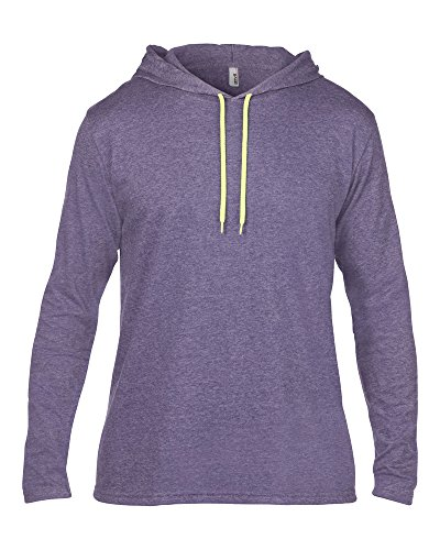 Anvil Anvil adult fashion basic long sleeve hooded tee Heather Purple/ Neon Yellow XL - Anvil Adult Fashion
