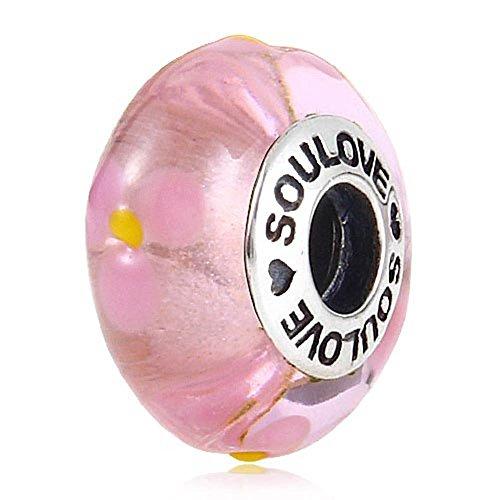 Soulbead donna in argento 925 con ciondolo a forma di fiore, in vetro viola SOULOVE-Perlina per braccialetto compatibile con marchio europeo Rosa