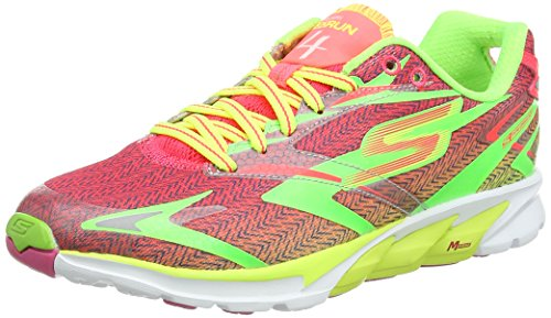 Skechers Go Run 4 Womens Running Shoes Lime/Hot Pink