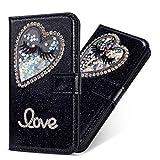 Miagon Hülle Glitzer für Galaxy J5 2017,Luxus Diamant Strass Herz PU Leder Handyhülle Ständer Funktion Schutzhülle Brieftasche Cover für Samsung Galaxy J5 2017,Schwarz