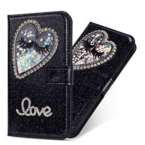Miagon Hülle Glitzer für Huawei Mate 20,Luxus Diamant Strass Herz PU Leder Handyhülle Ständer Funktion Schutzhülle Brieftasche Cover für Huawei Mate 20,Schwarz