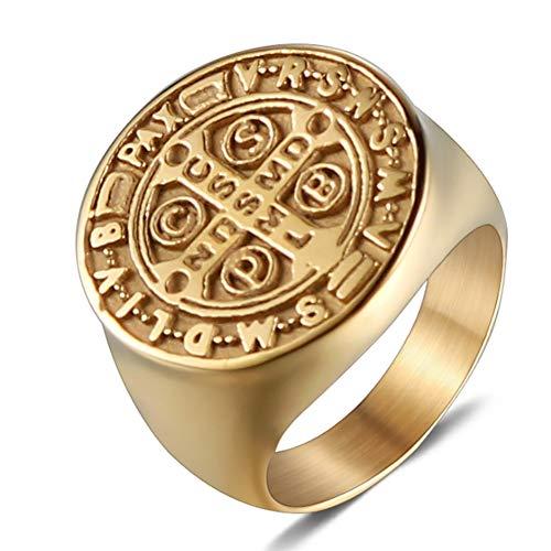 HSUMING Persönlichkeit Titanium Steel Ring, Vintage Punk Trend Cross Pattern Gold Plated Tone Schmuck Uns Größe 8-12 Index Finger Ring,12# (Vintage-ringe Größe 9)
