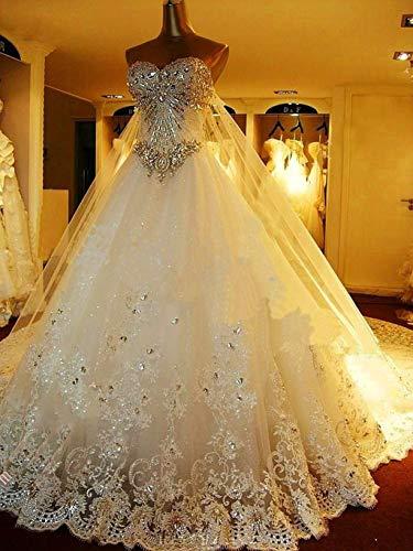 Jyl - abito da sposa per damigella d'onore, con strass brillanti e brillanti, lunghezza del pavimento, avorio, us:14 (4xl)