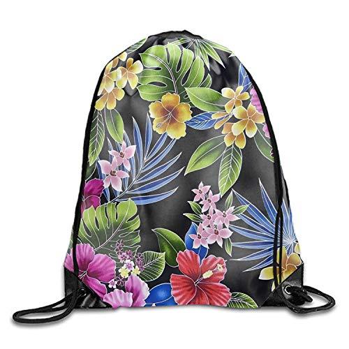 engzhoushi Turnbeutel,Sporttaschen,Schultasche 3D Drawstring Backpack Lightweight Tropical Flowers Pattern