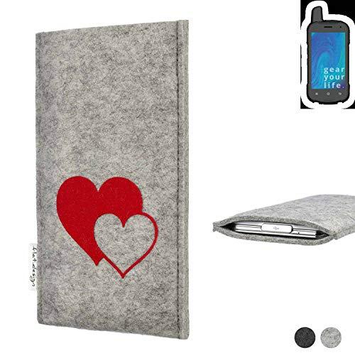 flat.design Handy Hülle für Ruggear RG720 Faro mit Herzen Filz Schutz Tasche Case Sleeve handgemacht