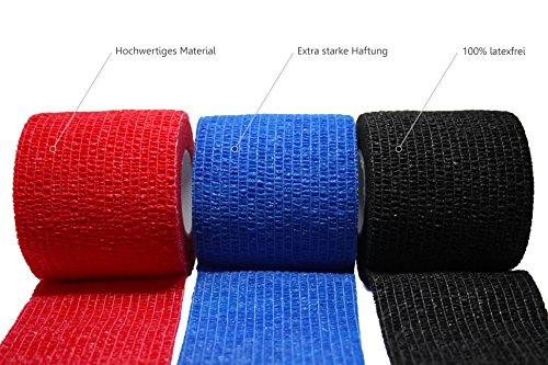 Verbände, Bandagen (3 Stück selbsthaftende Bandagen / Fixierbinde / Verband / Wundverband / Pflasterverband / Tierverband - kohäsiv, latexfrei, elastisch - 5cm x 4,5m)