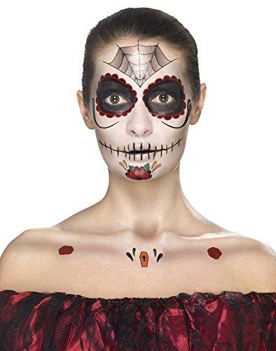 (Smiffy's 41570 - Tag der toten Gesicht Tattoo Transfers Kit und Facepaints Crayon und Applikatoren)