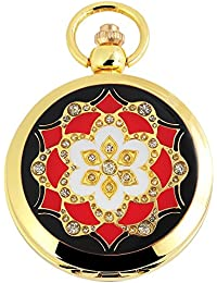 Tavo Lino Analog Reloj de bolsillo con cadena de metal 480802000035Oro Coloreado Carcasa en tamaño 47mm x 13mm con esfera de color blanco y cristal mineral.