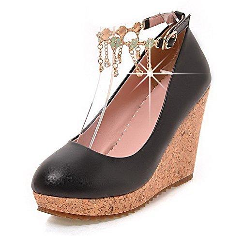 VogueZone009 Femme Matière Mélangee Rond à Talon Haut Boucle Couleur Unie Chaussures Légeres Noir