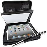 Organizer Elegance Tagungsmappe 24,6 cm (9,7 Zoll) für Apple iPhone/iPad und Tablet PC, herausnehmbarer/aufklappbarer iPad-Halter, incl. Touch Pen Pioneer, schwarz