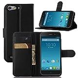 ECENCE Hülle für ZTE Blade V6 Wallet Case Handy-Schutzhülle Handycover Klapphülle mit Kartenfach und Ständer Schwarz 24030109