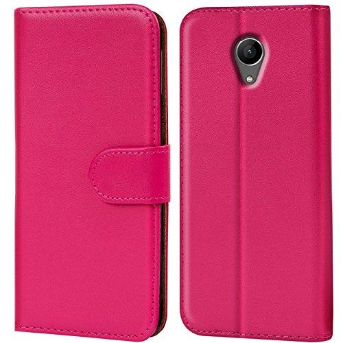 Verco Wiko Freddy Hülle, Handyhülle für Wiko Freddy Tasche PU Leder Flip Case Brieftasche - Pink