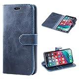 Mulbess Housse pour iPhone XR, Coque iPhone XR Cuir, Étui Portefeuille avec à Rabat Magnétique Housse Protection pour iPhone XR Etui Pochette, Navy Bleu
