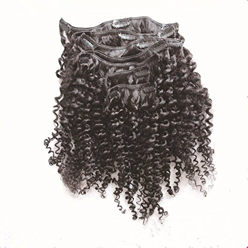 12 inch Afro Kinky Curly Clip In Human Hair Extension Virgin Brazilian Human Hair Clip In Hair For Black Women 8pcs/set 80gram/set