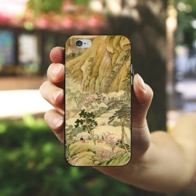Apple iPhone X Silikon Hülle Case Schutzhülle Chinese Art Gemälde China Silikon Case schwarz / weiß