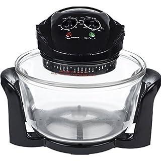 Andrew James Halogenofen 12 Liter | 1400W 240V | Einstellbarer Temperaturregler Timer und Zubehörpaket Inkl. Ersatzbirne Deckelhalter Backblech und Extender-Ring | Schwarz