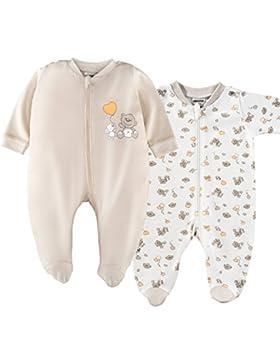 2er Set - Jacky Baby Schlafstrampler / Schlafanzug mit Füßen / Unisex / 100 % Baumwolle / Weiß / Beige / Öko-Tex...