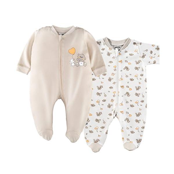 Jacky – Juego de 2 peleles / pijamas de bebé con pies – unisex – 100% algodón – blanco / beige – producto libre de… 1