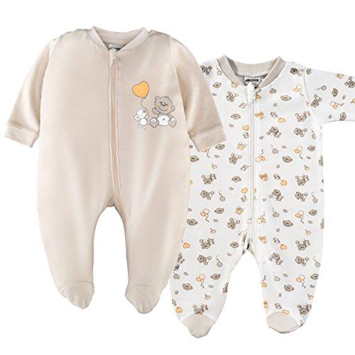 2er Set - Jacky Baby Schlafstrampler/Schlafanzug mit Füßen/Unisex / 100% Baumwolle/Weiß/Beige/Öko-Tex schadstoffgeprüft (62/68)