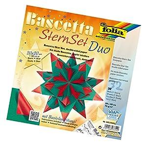 Folia 325/2020 Bascetta Duo - Set de papeles transparentes de 20 x 20 cm para construcción de estrellas (32 hojas) color verde y rojo Importado de Alemania