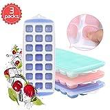 Hapree 3 Packs Eiswürfelschale, Silikon Eiswürfelform mit Deckel, LFGB Zertifiziert BPA frei...