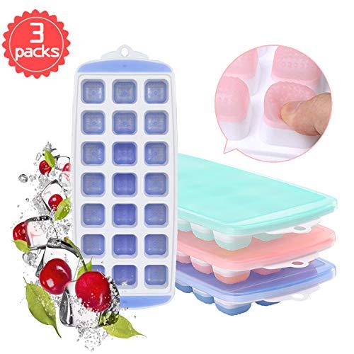 Hapree 3 Packs Eiswürfelschale, Silikon Eiswürfelform mit Deckel, LFGB Zertifiziert BPA frei Silikon EIS Cube Formen Babynahrung, Wein, Schokolade und andere Getränke Eisformen (21Cubes / Pack)