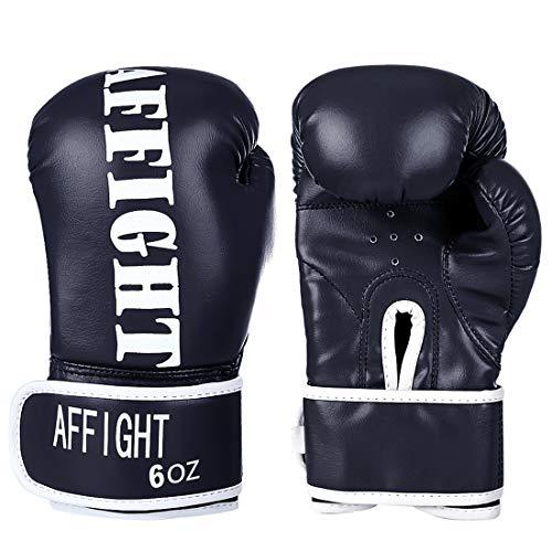 LVPY Kinder Boxhandschuhe, 1 Paar 6Oz Box -Handschuhe aus Leder für Kinder von 6-11 Jahre Training Gloves - Schwarz
